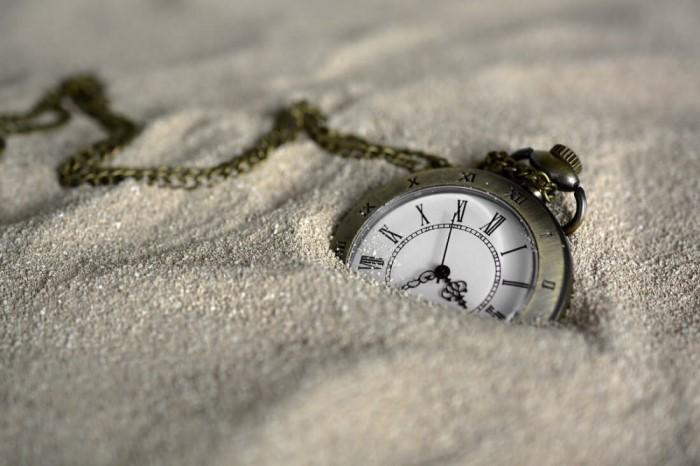 uhr im sand, zeitmanagement